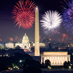 Image of U.S. Capitol Building with fireworks in background