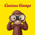 Image of Curious George looking through binoculars