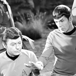 Image of Spock and Kirk on the bridge of the Enterprise