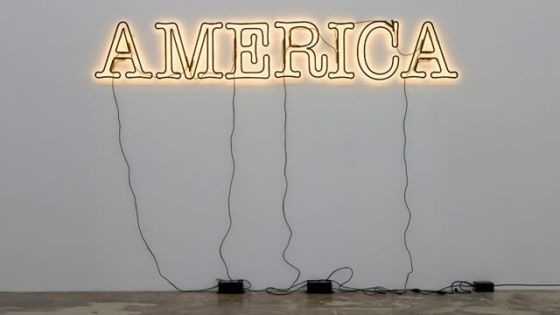 Image of neon sign that reads America