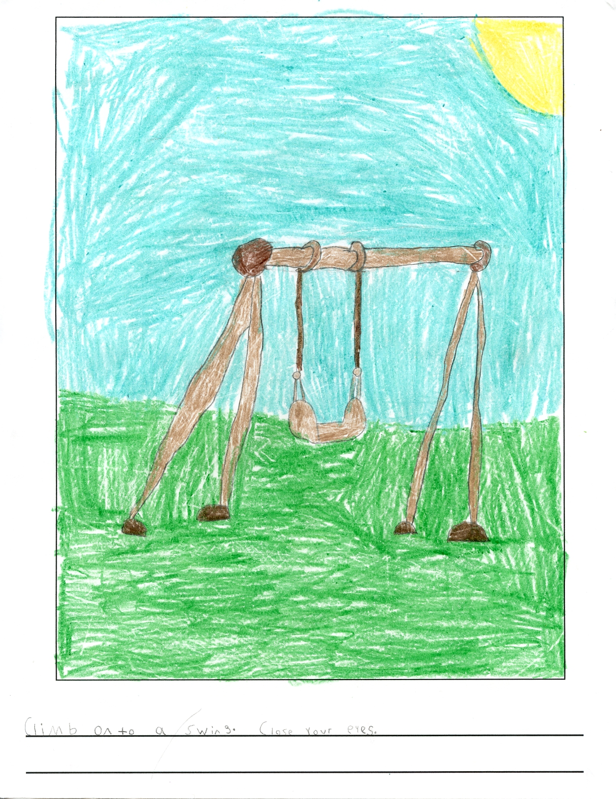 picture of a swing in green grass beneath a bright clear sky and sun