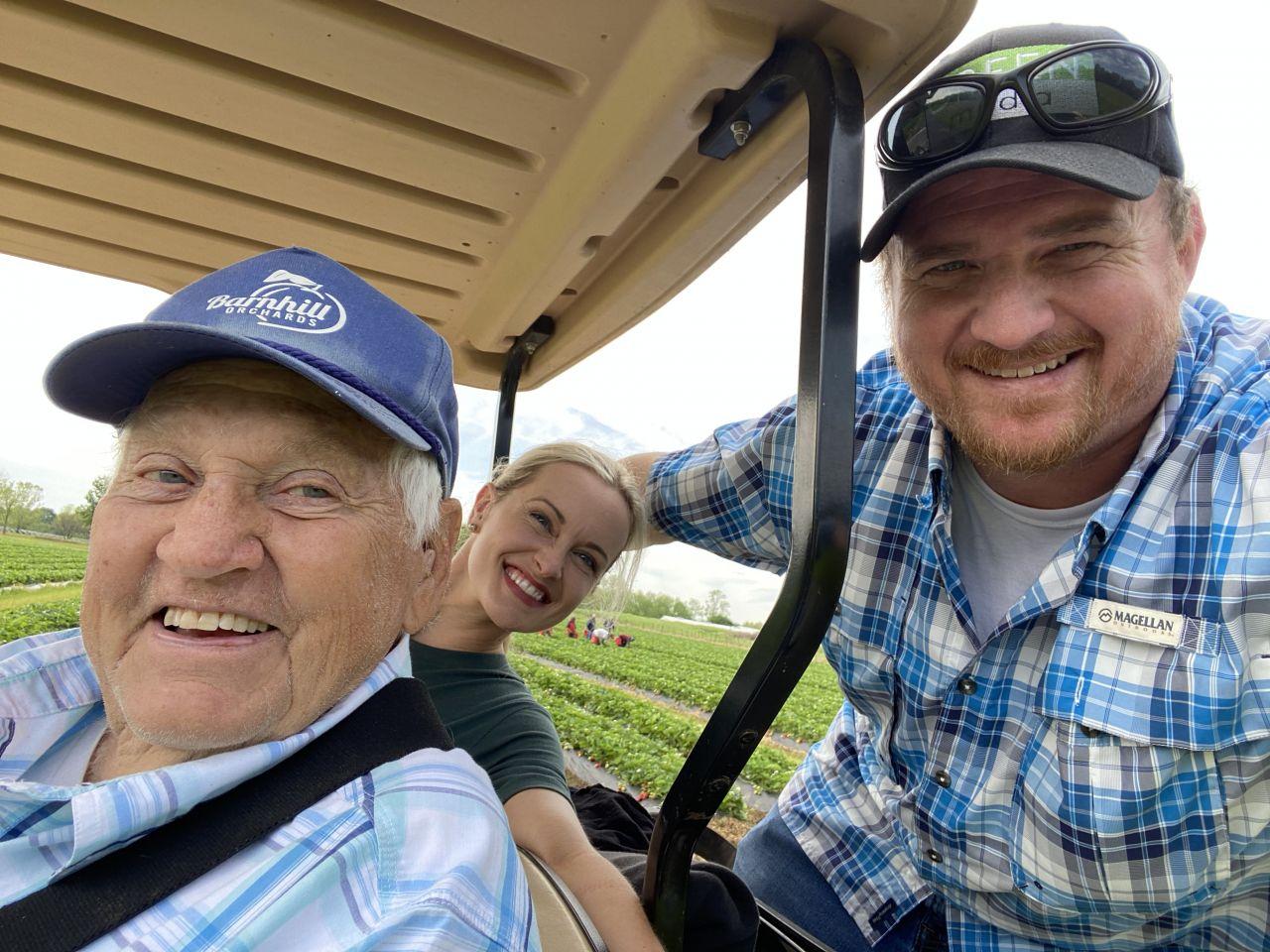 Morning golf cart ride selfie at Barnhill Orchards