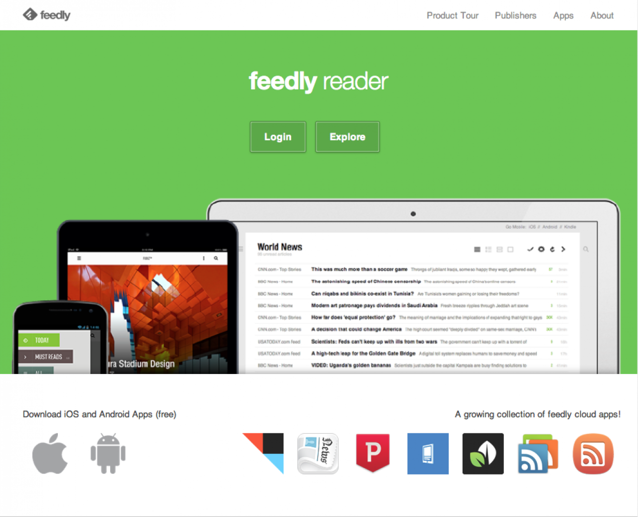 Feedly Homepage Screenshot