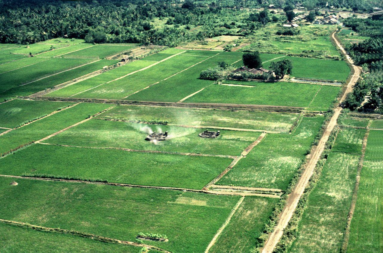 Hovercraft on Rice Paddy