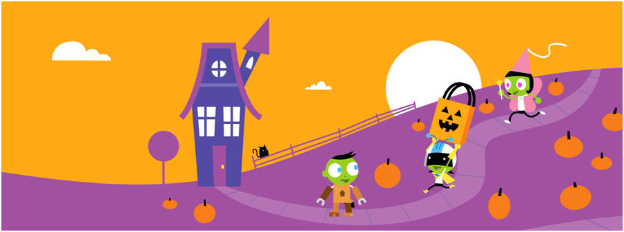 a cartoon rendention of a spooky house and trick or treaters