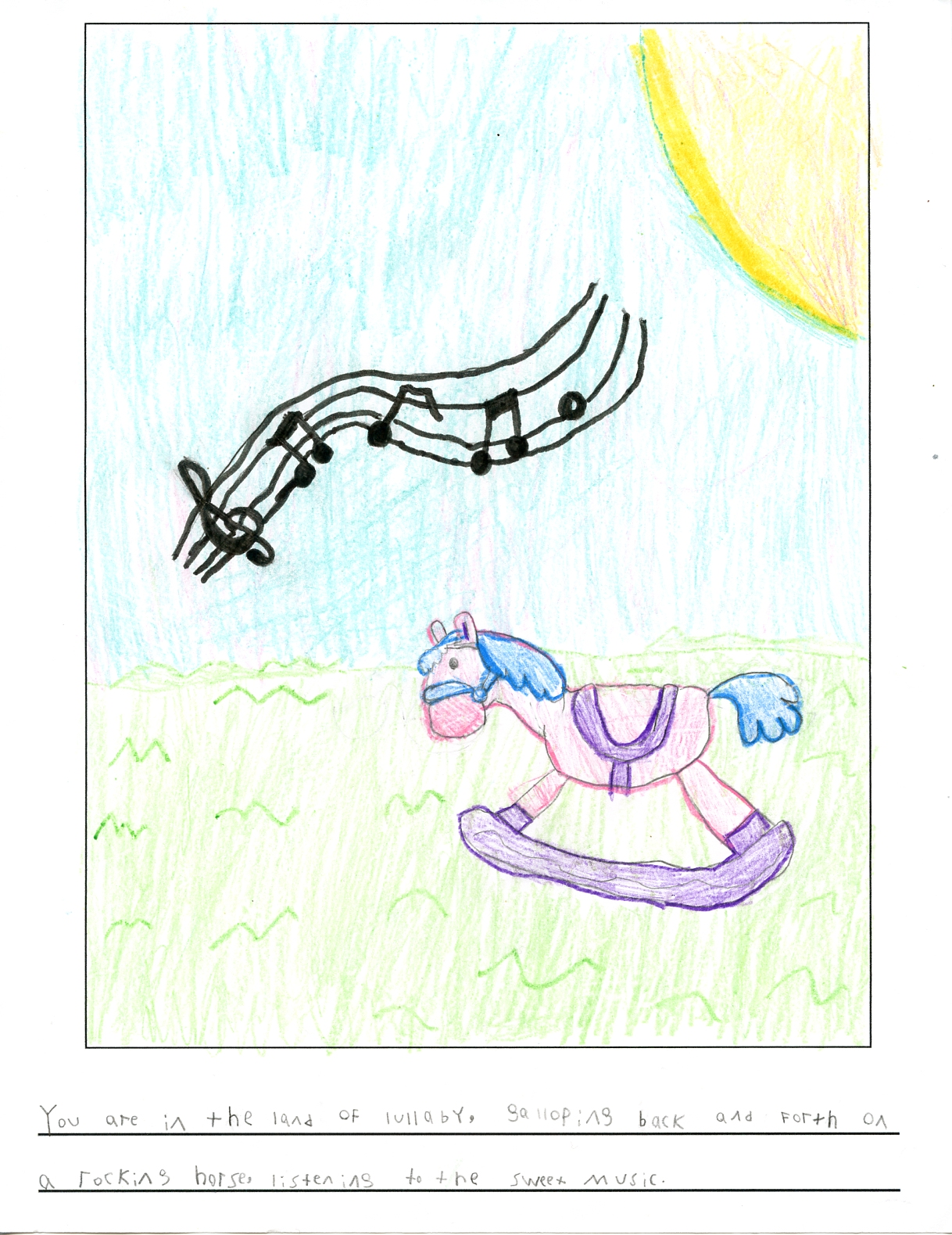 picture of a pink and purple rocking horse on green grass beneath musical notes floating thru the air on a sunny day