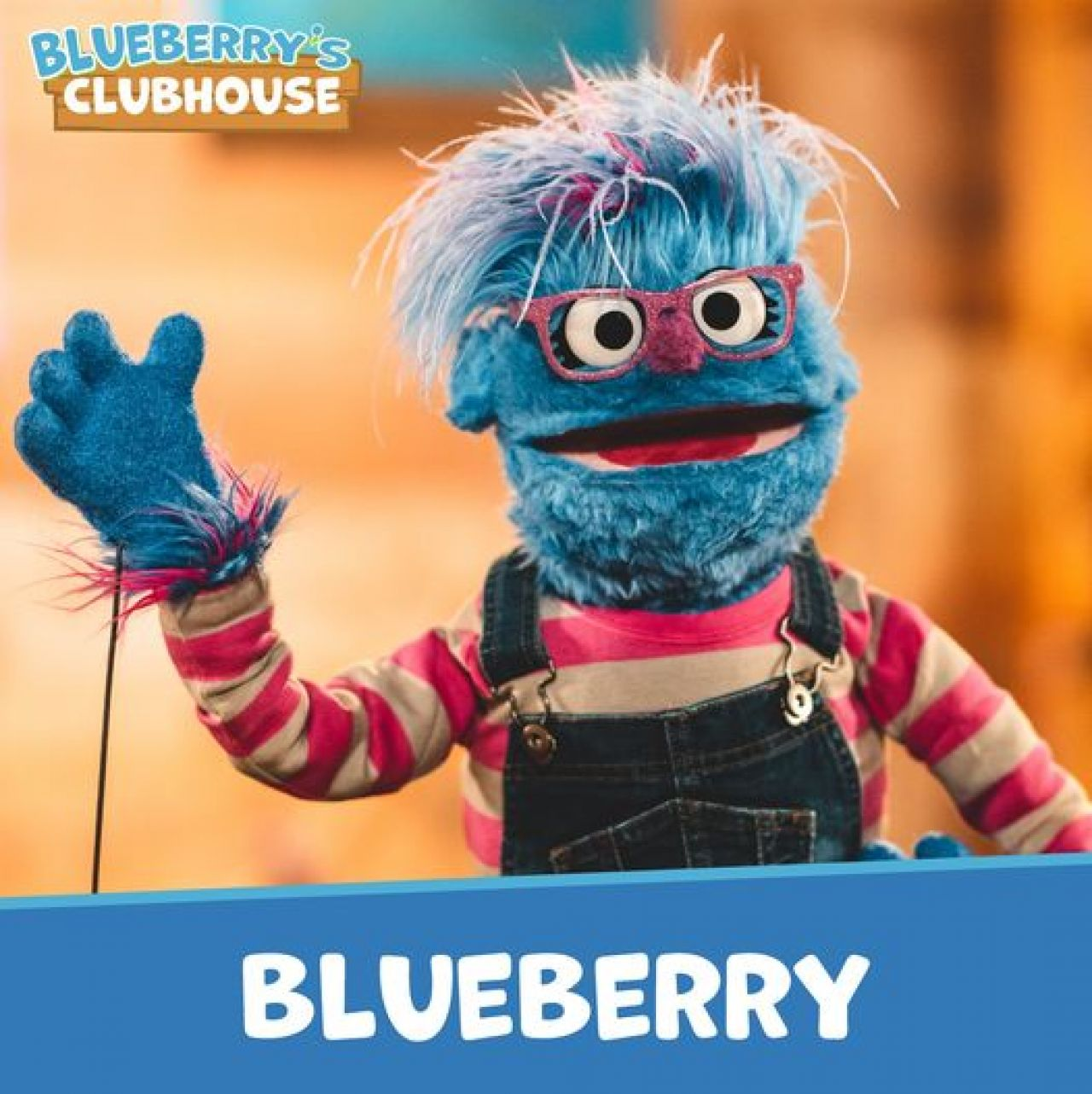 Blueberry, wearing pink glittery glasses and a long-sleeved gray and fuchsia-striped shirt under denim overalls, waves to the camera