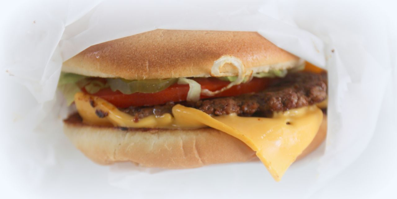 Close-up of a Susie Q Cheeseburger