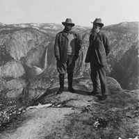 Image of Theodore Roosevelt and John Muir on Mountain Top