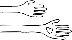 Drawing of Hands and Hearts