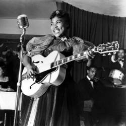 Sister Rosetta Tharpe singing on stage