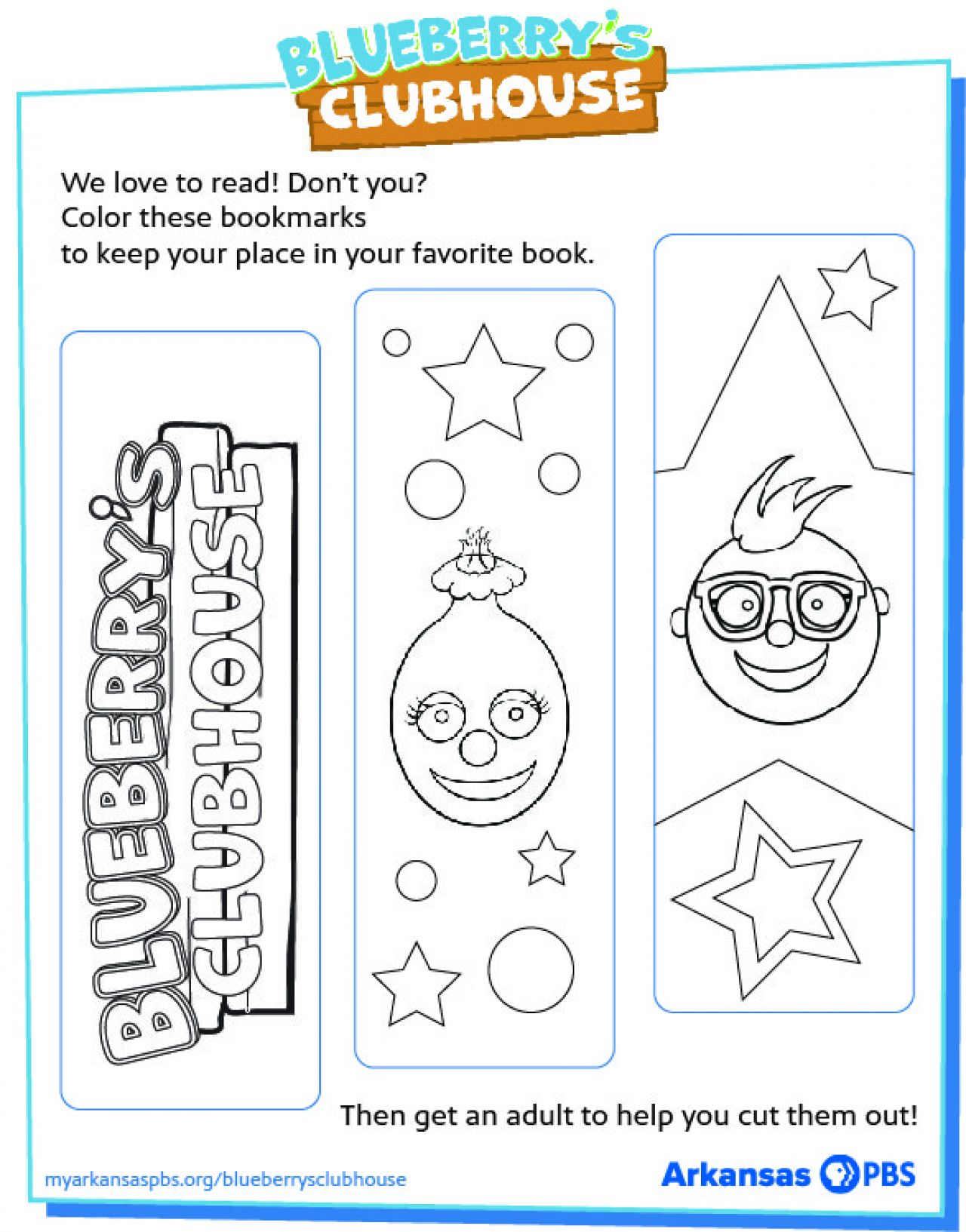Printable bookmarks featuring black and white line drawings of the Blueberry's Clubhouse logo Juneberry and Blueberry inside a Blueberry's Clubhouse colored frame