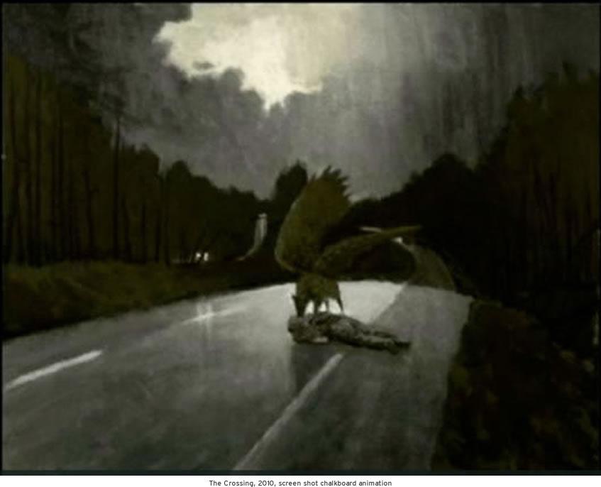 The Crossing, 2010, screen shot chalkboard animation