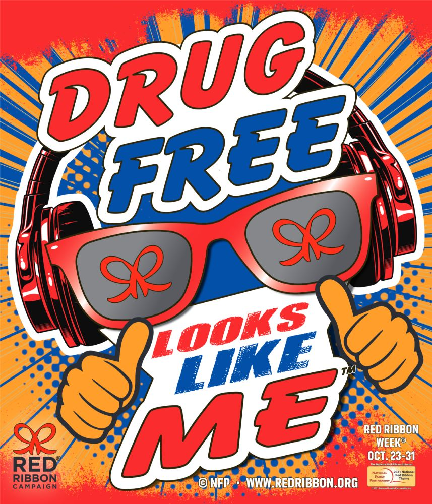 cartoon sunglasses with double thumbs up and headphones surrounded by the words Drug Free Looks Like Me