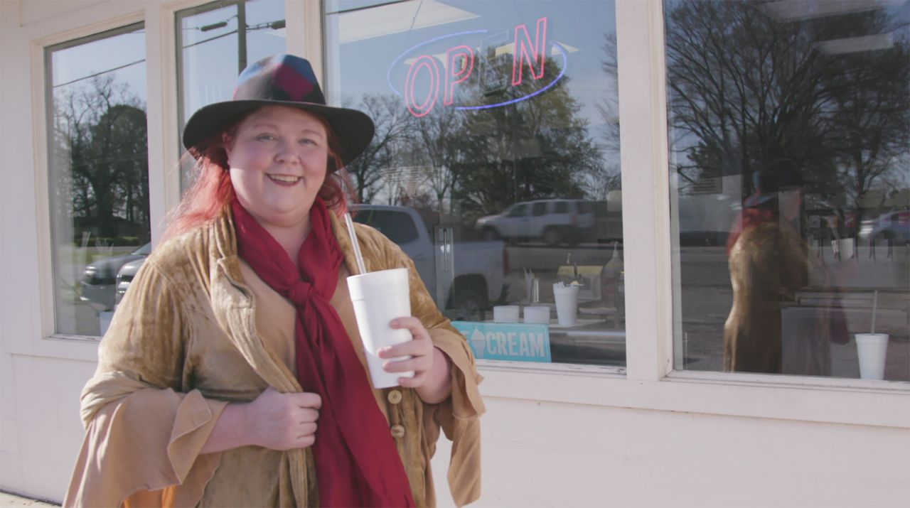 Kat holds up an icy treat at Charleston Dairy Diner