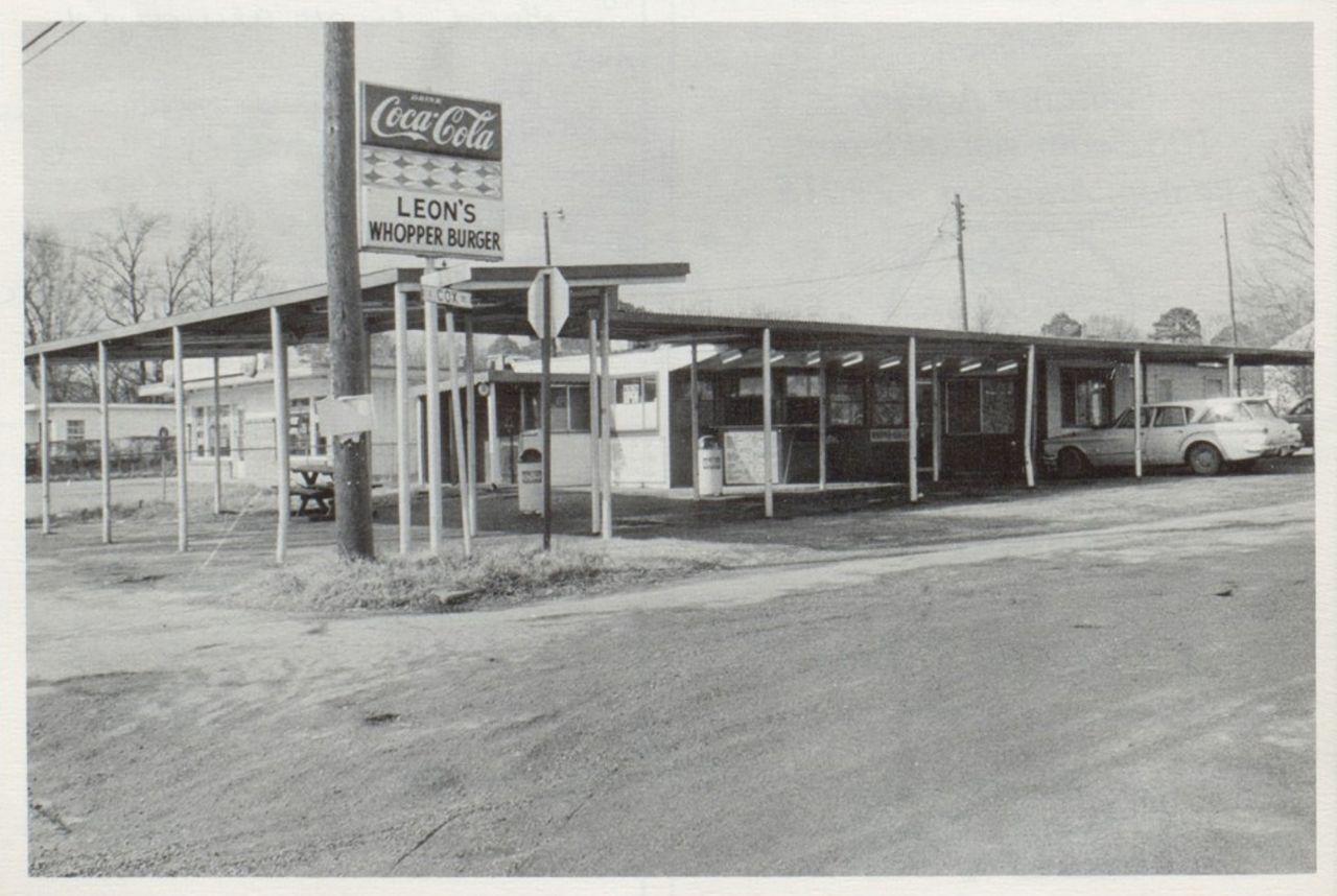 Vintage exterior shot of Leon's Whopper Burger