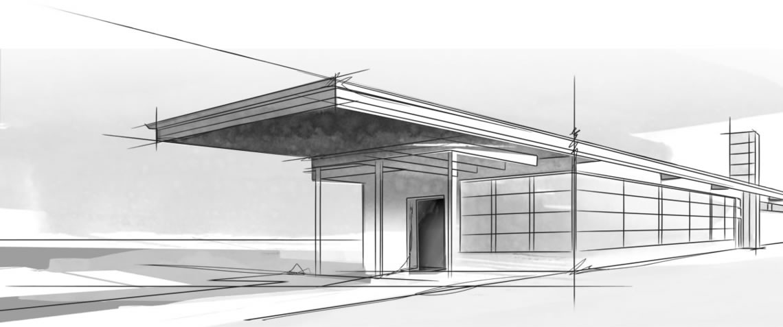 Sketch Of Modern Building