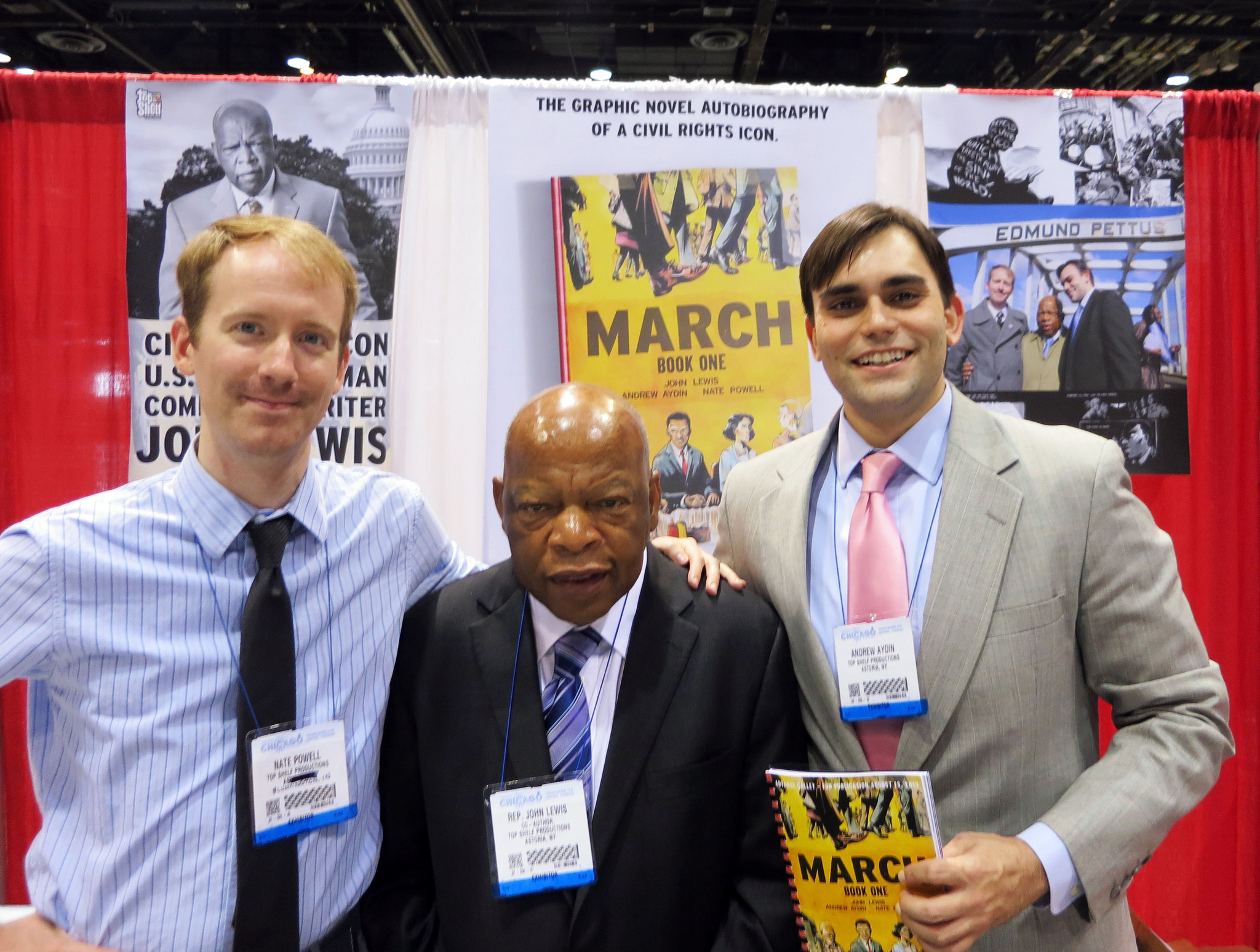 "The creative team behind ""March Book One"": Nate Powell, Congressman John Lewis and Andrew Aydin"