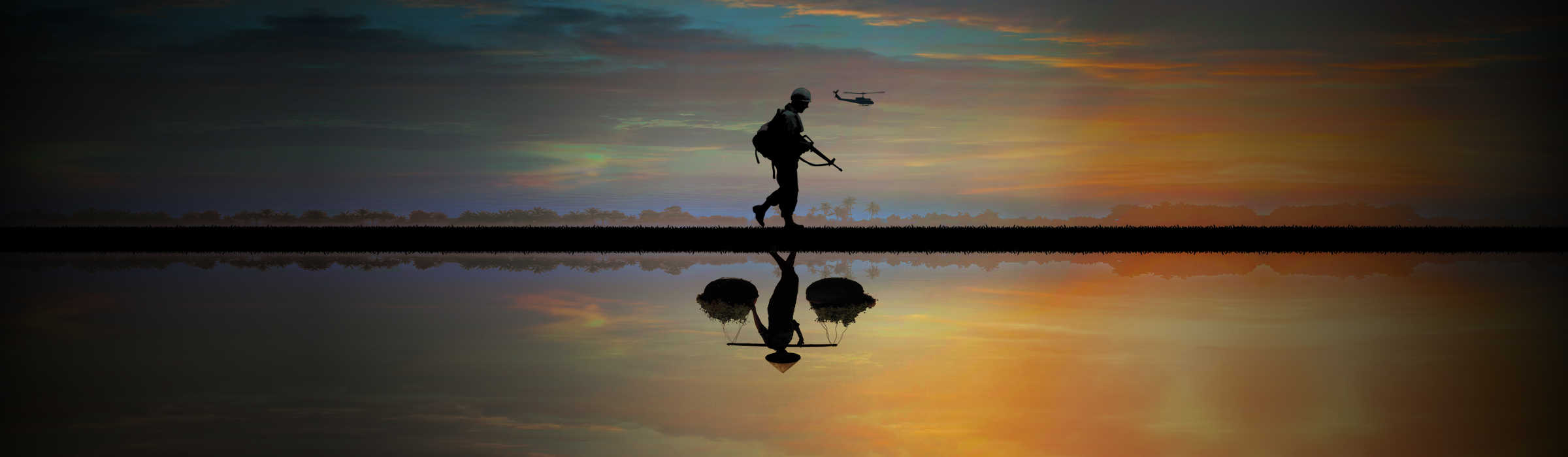 silhouette of soldier and farmer walking through field