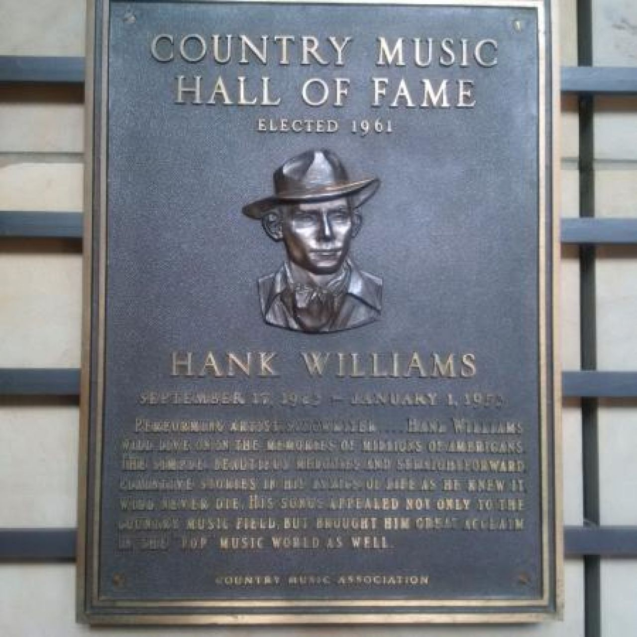 Hank Williams Country Music Hall of Fame Plaque