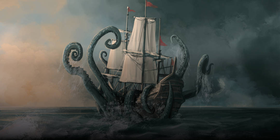 sailing ship being attacked by giant octopus