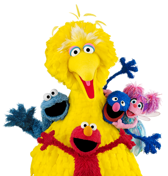Big bird and friends smiling for a picture