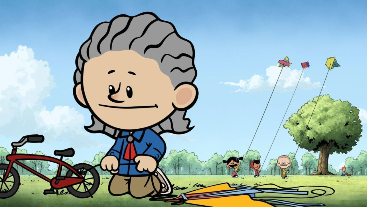 Temple Grandin character on Xavier Riddle and the Secret Museum ties a kite string to a bicycle while the series' regular characters fly kites in the background.