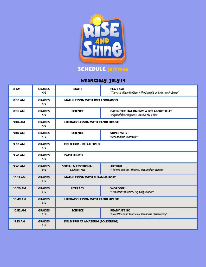 Week Two Wednesday schedule