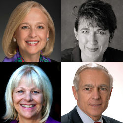 Collage of Paula Kerger, Dr. Conevery Bolton Valencius, Dr. Donna Beegle, and Gen. Wesley Clark