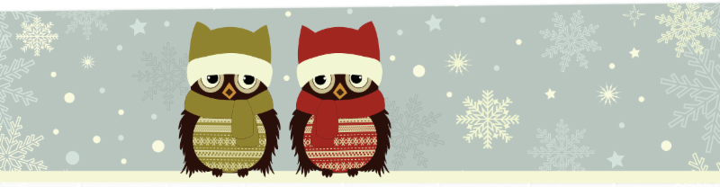 Cartoon owls with scarfs in snow