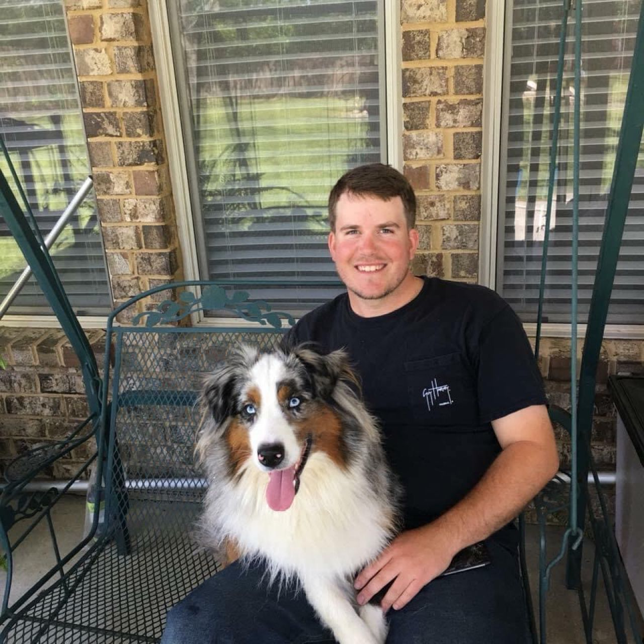 Chris Teem today with pet Australian Shepherd