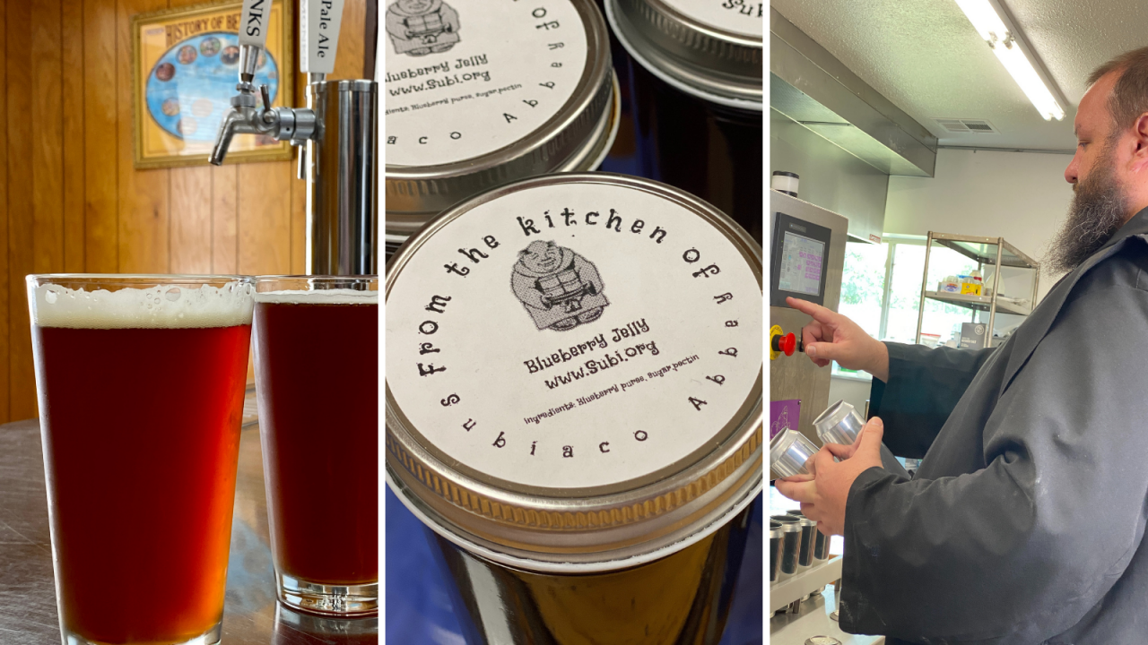 Photos of a sampling of the food and beverage goods created at Subiaco Abbey, including beer, jam and kitchen staff at work.
