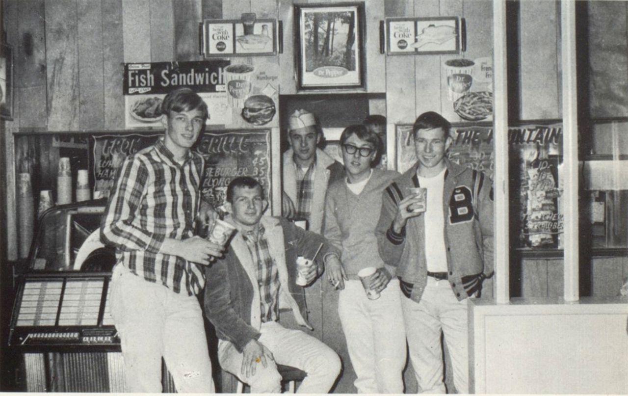 Six Benton High School Boys gather near the jukebox at Leon's Whopper Burger