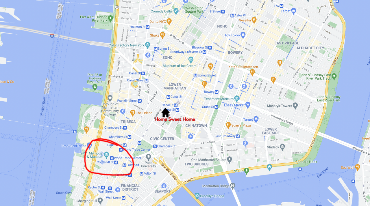 Map of Lower Manhattan marking Jennifer's dorm location and the World Trade Center's location.