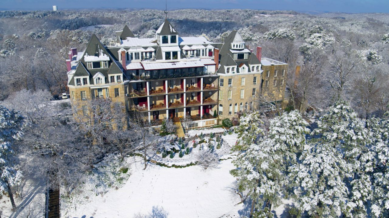 Exploring Arkansas From Above capture of the Crescent Hotel in winter