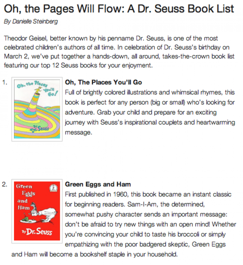 PBS Parents Dr. Seuss Book List
