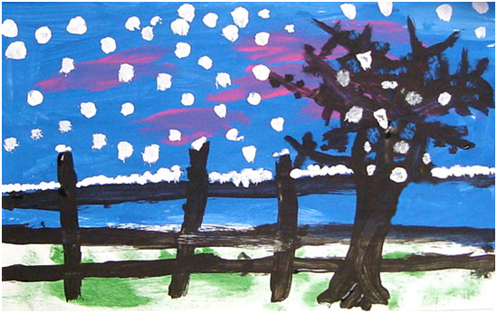 Artistic representation of the snowy outdoors