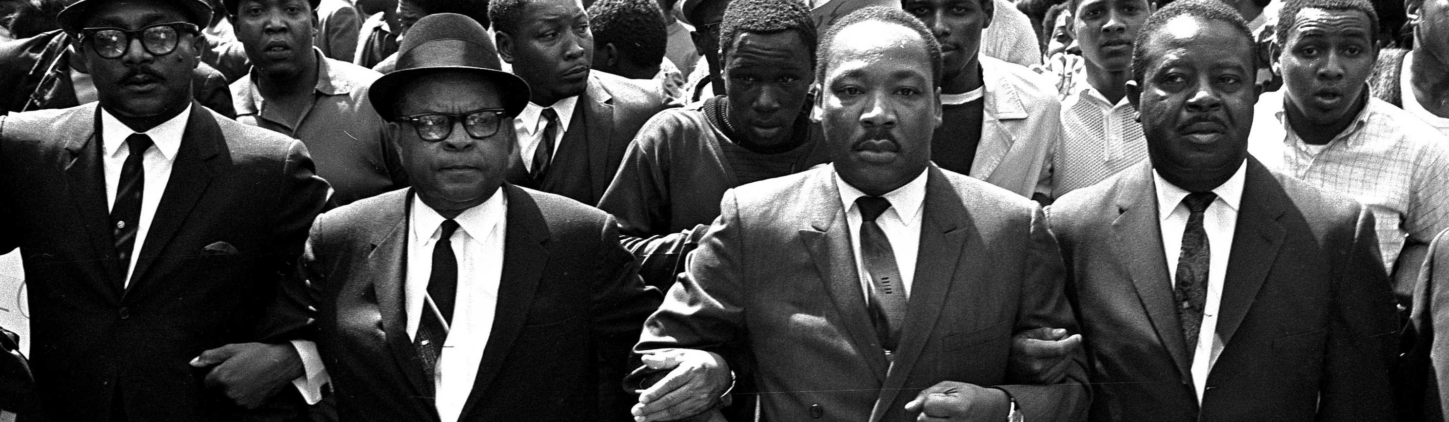 The Rev. Ralph Abernathy, Bishop Julian Smith and Dr. Martin Luther King, Jr., during a civil rights march in Memphis, Tenn., March 28, 1968.