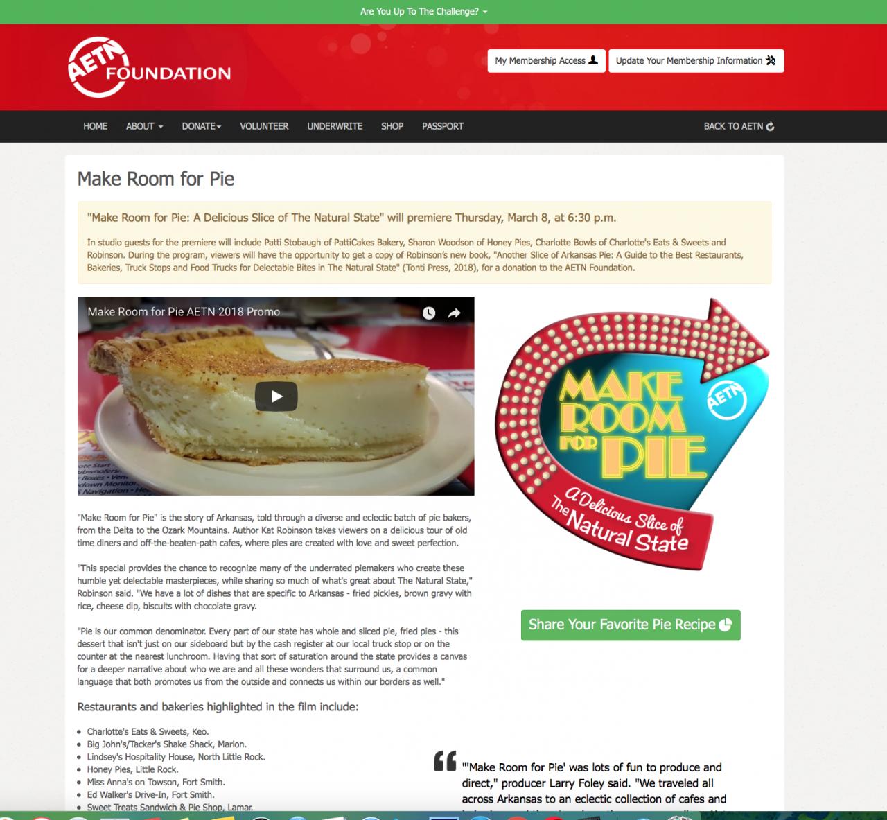 Make Room for Pie Website