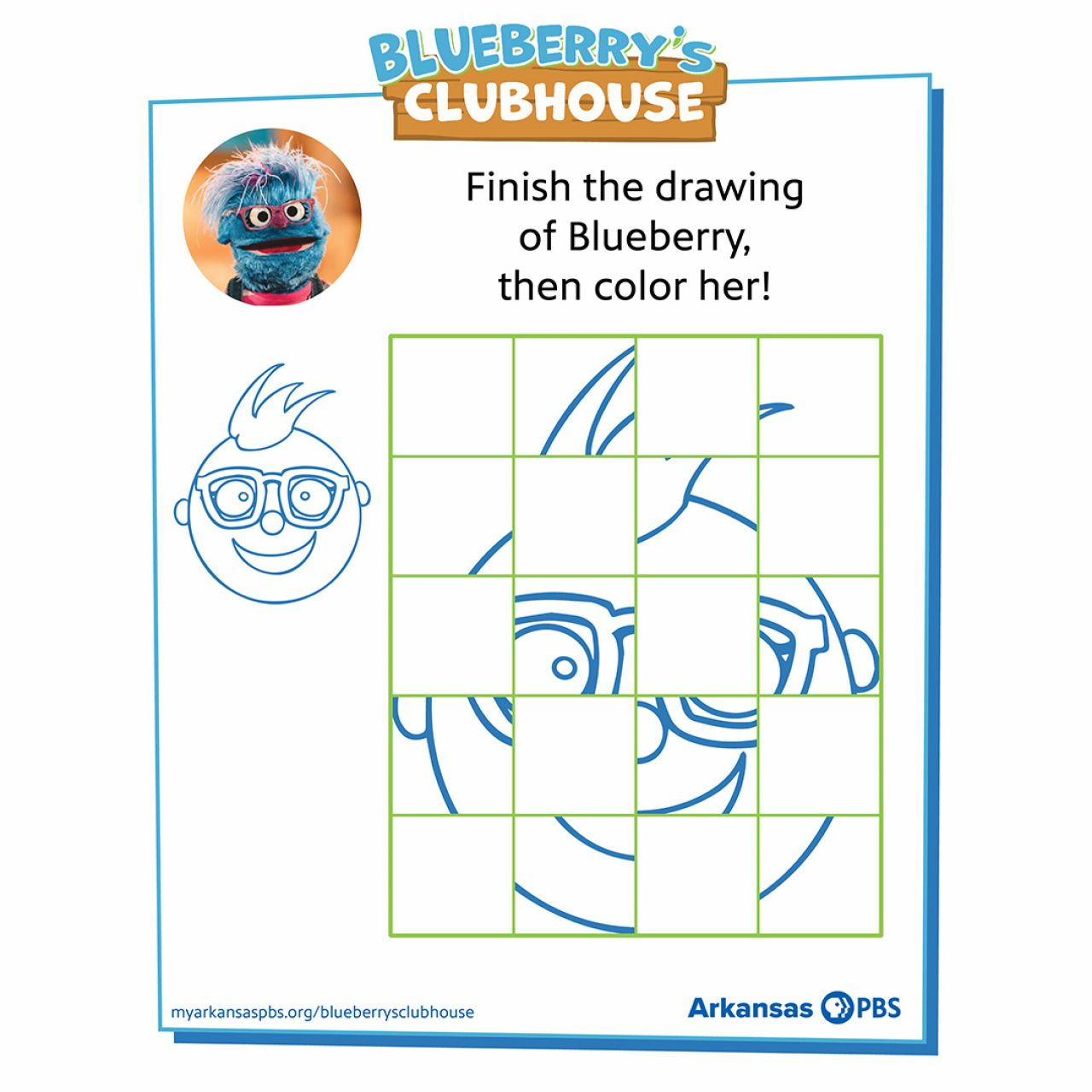 Partially completed grid drawing of Blueberry's head inside blue frame with Blueberry's Clubhouse logo at top center, instructions in the margin and Blueberry's Clubhouse website and AR PBS Logo at base