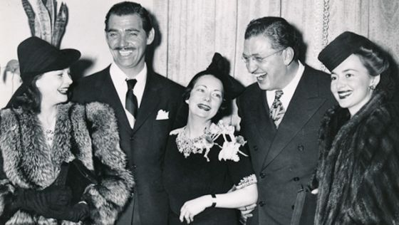 "Margaret Mitchell, pictured with the cast, director of ""Gone With the Wind"""