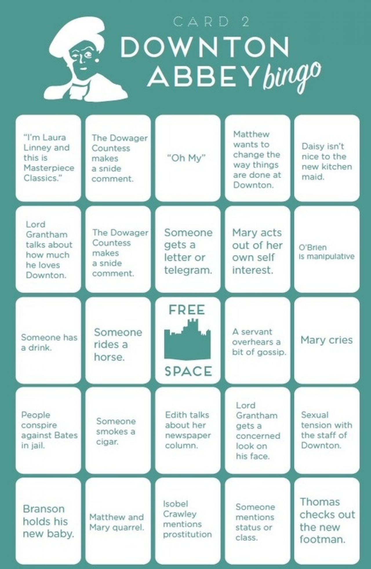 """Downton Abbey"" Bingo from Paste Magazine"