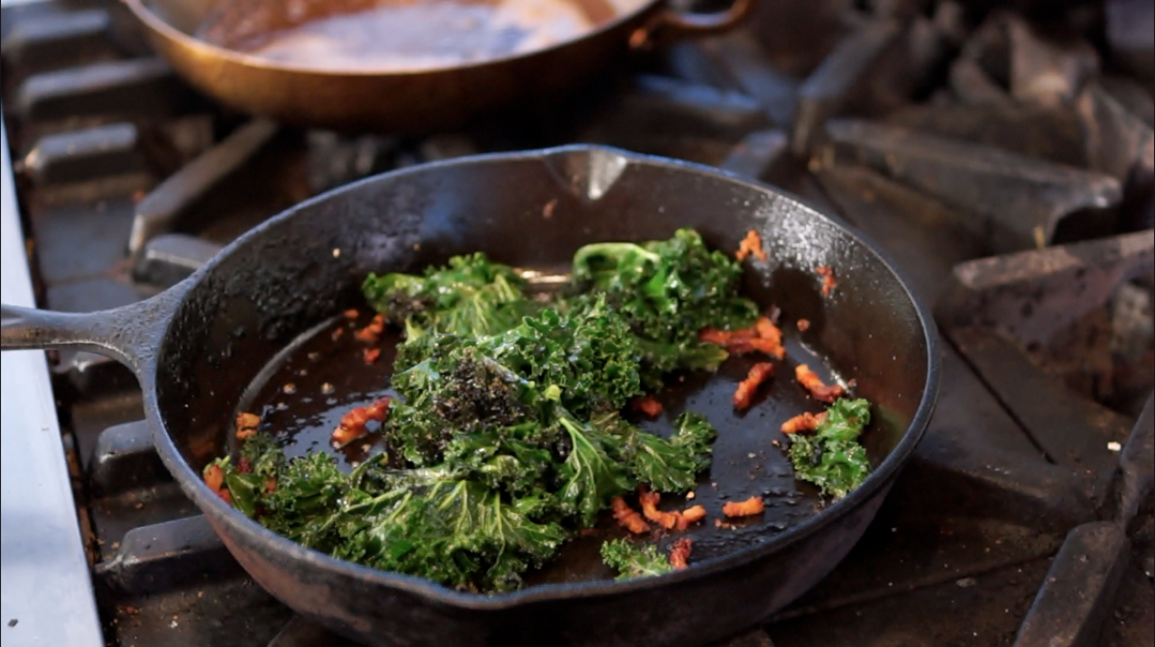 Cook With Brooks: Braised Kale and Pork Belly