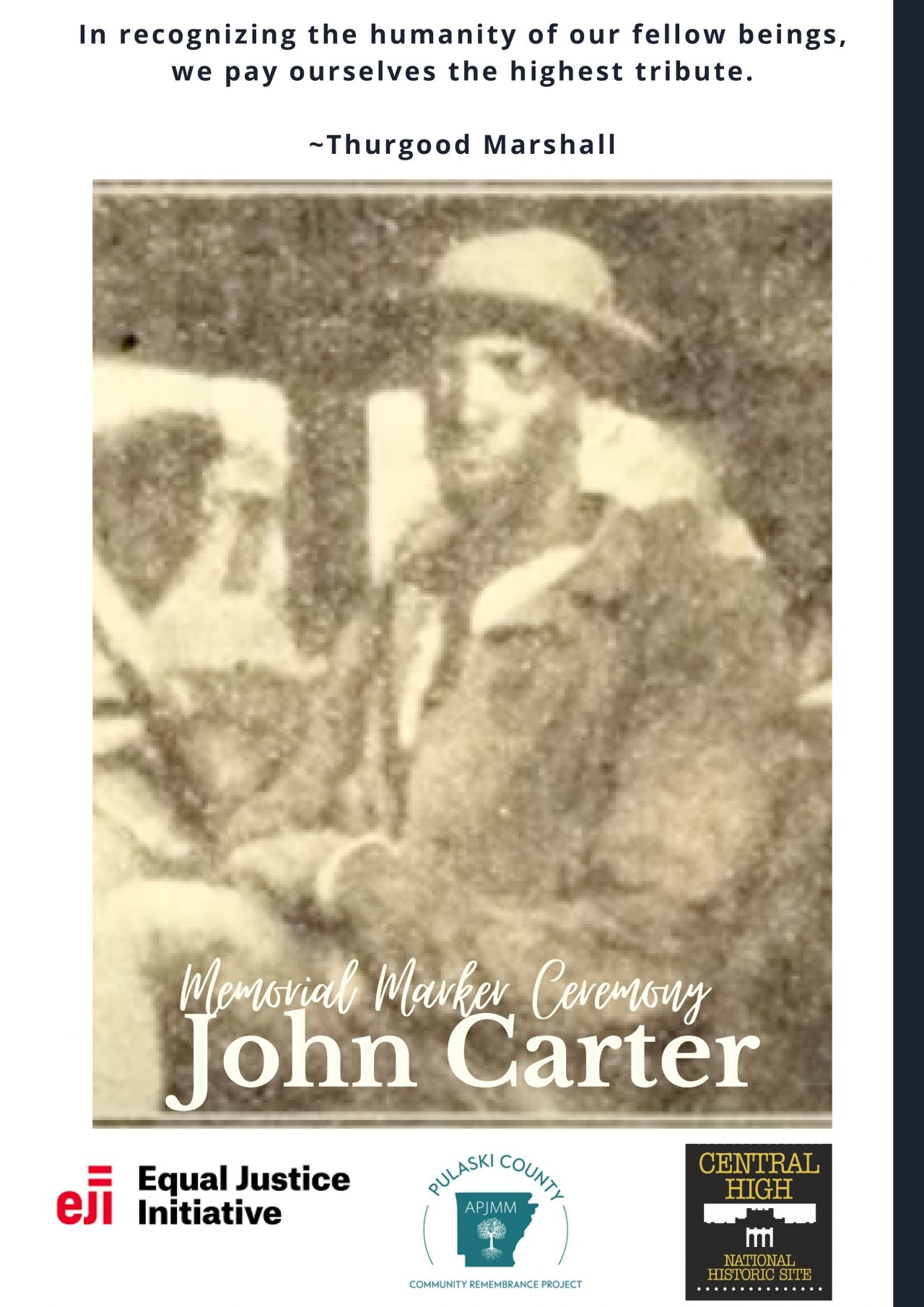John Carter Memorial Marker Ceremony Program Cover