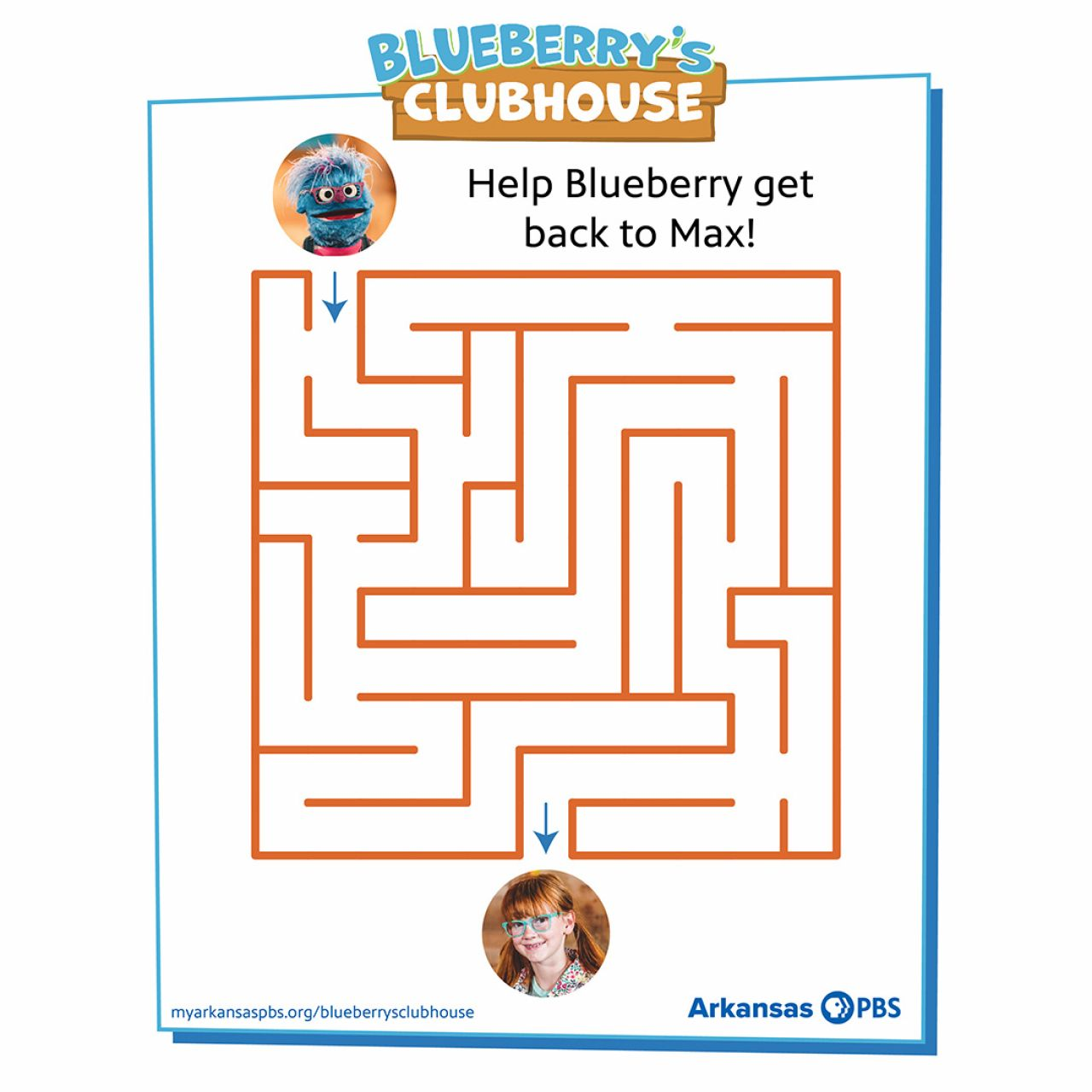 Orange maze with a photo of Blueberry at the top and Max at the end inside a blue frame with Blueberry's Clubhouse logo at top center, instructions in the margin and Blueberry's Clubhouse website and AR PBS Logo at base