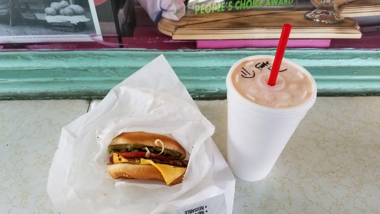 Susie Q Burger and Signature Happy Cup