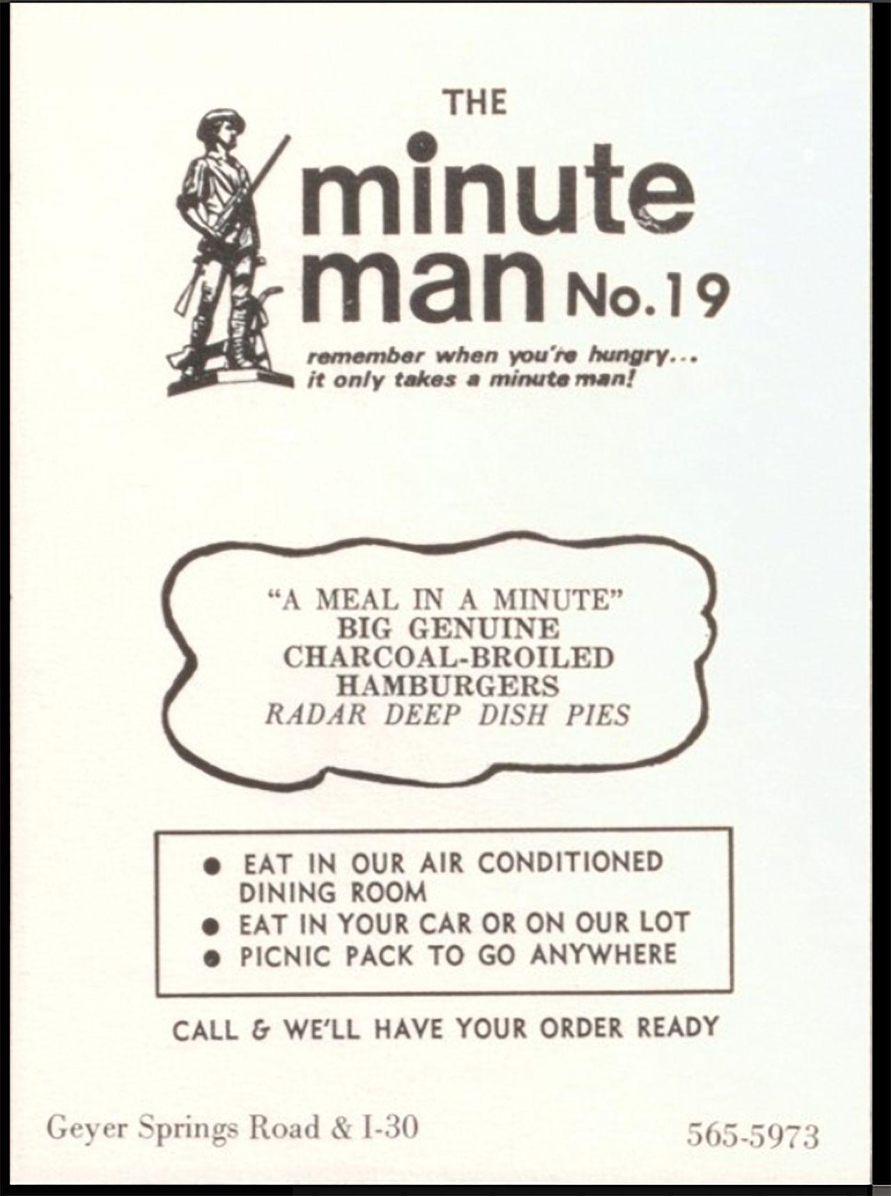 Vintage Minute Man No. 19 Menu