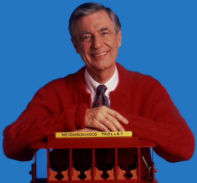 Mister Rogers with hands on Trollie