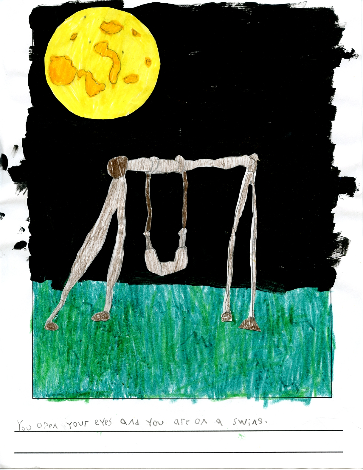 a clear sky at night with a swing set