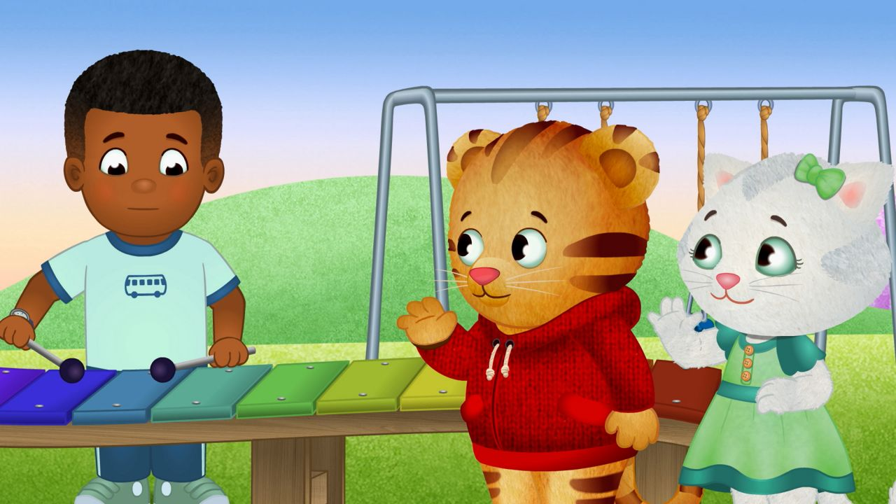 Daniel Tiger's Neighborhood Characters Daniel and Katerina Kittycat meet Max, who is playing a xylophone.